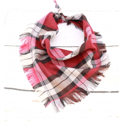 Frayed Spiced Mulberry Plaid Bandana - Scamps