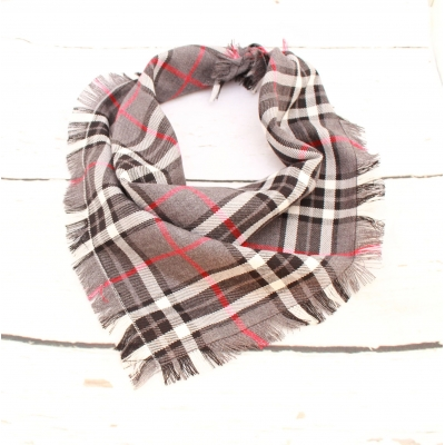 Frayed Charcoal & Red Plaid Bandana - Scamps