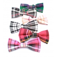 Ash Grey & Pink Plaid Dog Bow Tie