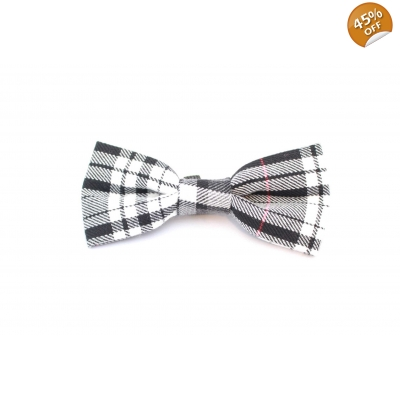 Charcoal & Red Plaid Dog Bow Tie