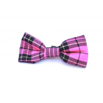 Pink & Gold Plaid Dog Bow Tie