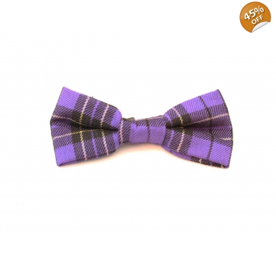 Purple & Gold Plaid Dog Bow Tie