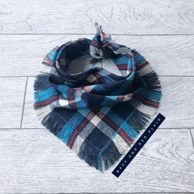 Frayed Blue & Red Plaid Bandana NEW