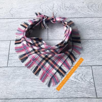 Frayed Pink & Orange Plaid Bandana NEW