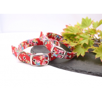 Red Maine Floral Buckle Collar