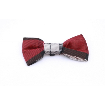Spiced Mulberry Plaid Dog Bow Tie