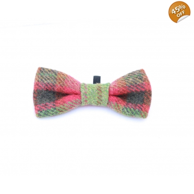 Moss Green & Red Dog Bow Tie