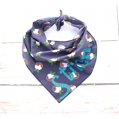 Personalised Navy Christmas Puddings Bandana