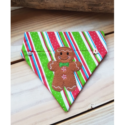 Candy Cane Gingerbread Man Christmas Slide On Bandana