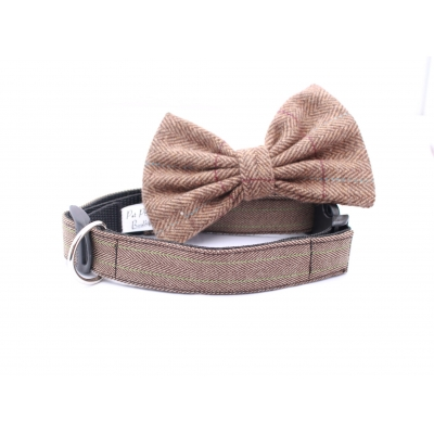 Brown & Lime Country Tweed Collar