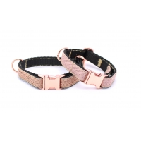 Copper Gold Herringbone On Rose Gold Slim Fit Collar - 15mm wide