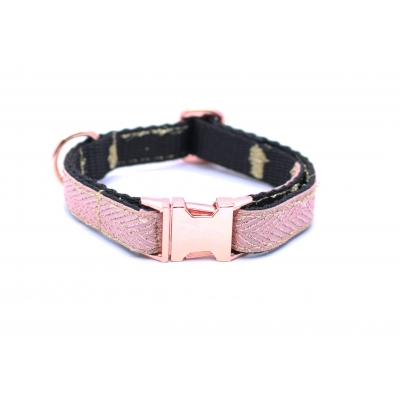 Rose Gold Herringbone On Rose Gold Slim Fit Collar - 15mm wide