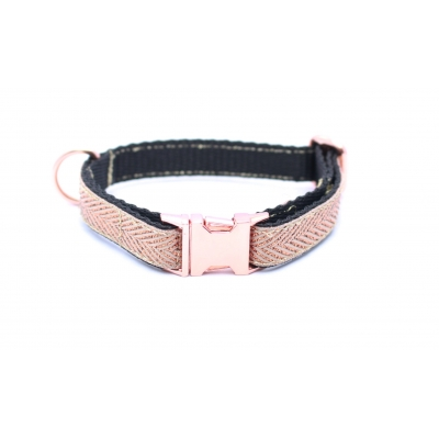 Copper Gold Herringbone On Rose Gold Slim Fit Collar - 15m..