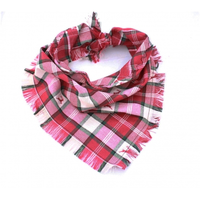 Frayed Prancing Stag Plaid Bandana