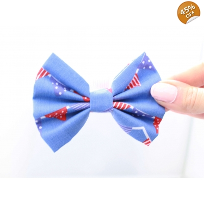 Blue Bunting Handmade Dog Bow Tie