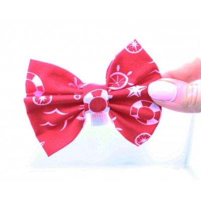Red Anchors Handmade Dog Bow Tie
