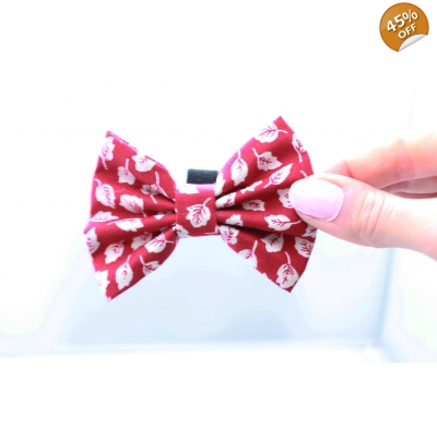 Fall Red Handmade Dog Bow Tie