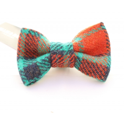 Orange & Turquoise Luxury Tweed Bow Tie