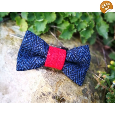 Navy Herringbone Luxury Tweed Bow Tie