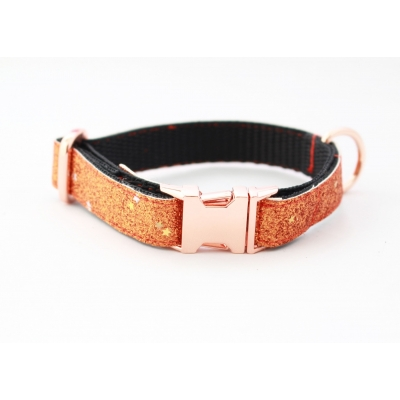 Ember Blaze On Rose Gold Slim Fit Collar - 15mm wide