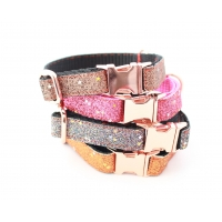 Graphite Blaze On Rose Gold Slim Fit Collar - 15mm wide