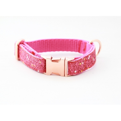 Pink Diamond Blaze On Rose Gold Slim Fit Collar - 15mm wide