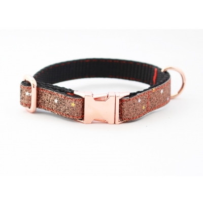 Caramel Blaze On Rose Gold Slim Fit Collar - 15mm wide