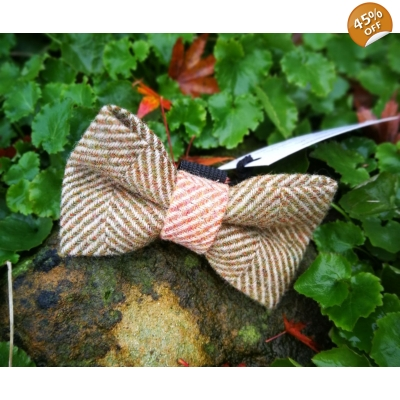 Green Herringbone Luxury Tweed Bow Tie
