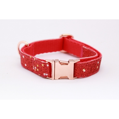 Fireball Red Blaze On Rose Gold Slim Fit Collar - 15mm wide