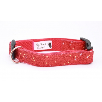 Fireball Red Blaze Dog Collar / Optional Hardware