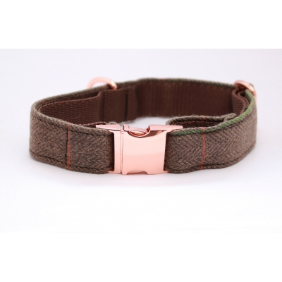 Pine Forest Country Tweed On Rose Gold Collar
