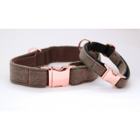 Pine Forest Country Tweed On Rose Gold Slim Fit Collar - 15mm wide