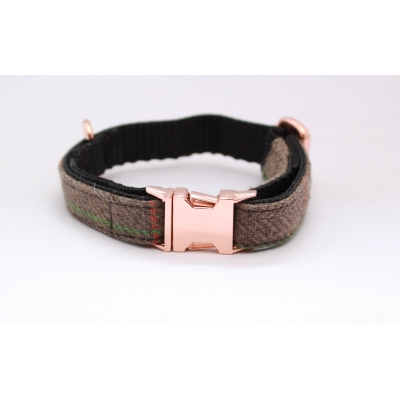 Pine Forest Country Tweed On Rose Gold Slim Fit Collar - 1..