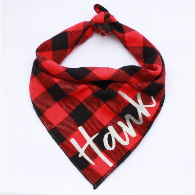 Personalised Red & Silver Buffalo Plaid Bandana