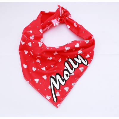 Personalised Patchwork Love Hearts Monochrome Bandana