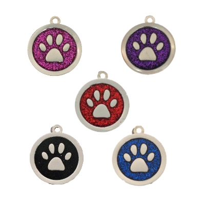 Glitter Paw Dog Tag title=