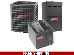1.5 Ton 14 SEER Goodman GSX14 Central Air System with GMS80 Furnace
