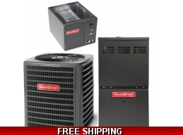 3.5 Ton 15 SEER Goodman GSX16 Central Air System with GME80 Furnace