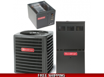 2 Ton 15 SEER Goodman GSX16 Central Air System with GME80 Furnace