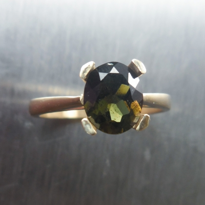 1.60cts Natural Rare Kornerupine ring 9Carat .375 yellow gold
