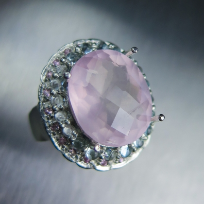 9.20cts Natural rose pink quartz Sterling 925 Silver ring