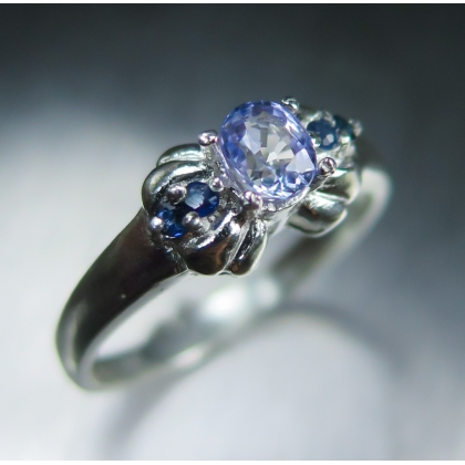 Natural Cornflower blue sapphire not treated Sterling .925 Silver ring