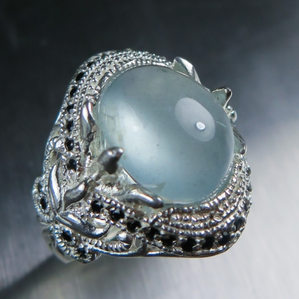 7.60cts Natural blue Aquamarine & spinel Sterling 925 Silver ring