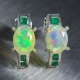 Natural Welo Ethiopian Opal &emeralds 925 Silver studs earrings