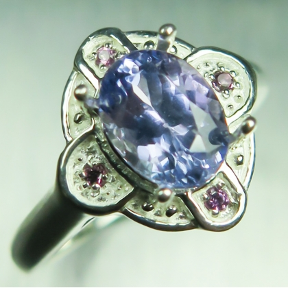 1.40ct Natural Purple Tanzanite &amethysts Sterling 925 Silver ring
