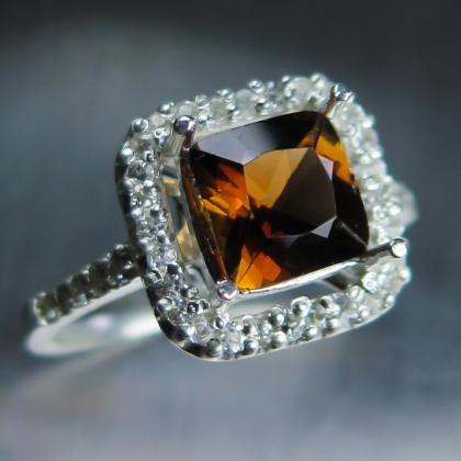 2.3ct Natural peach brown Imperial topaz Silver / Gold/ Platinum ring