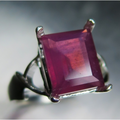 5.60ct Natural red Ruby emerald cut Sterling 925 silver ring