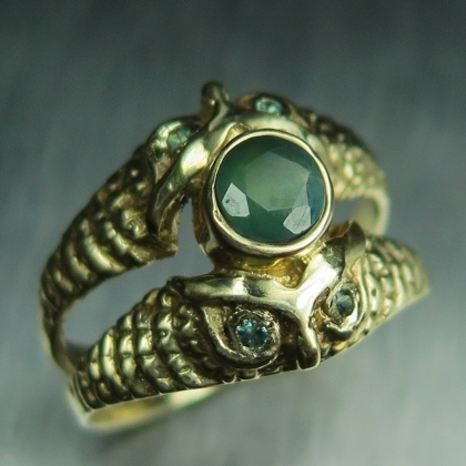 Natural Russian Alexandrite Gold / Platinum/ Palladium unisex owl ring