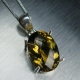 5.85ct Natural Citrine, antique yellow gold colour 925 silver pendant