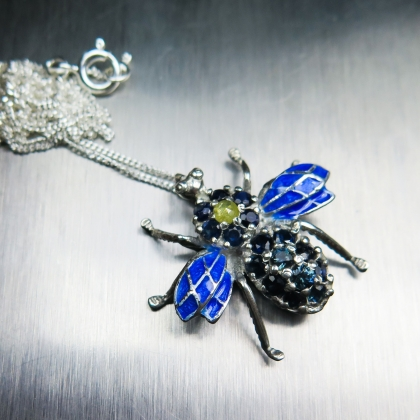 Natural Diamond & sapphires Silver / Gold pendant beetle enamelled